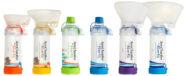 AeroChamber Plus Flow-Vu produkty postawione obok siebie