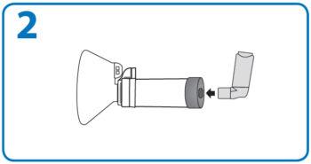 AeroChamber użycie z maską – 2. krok