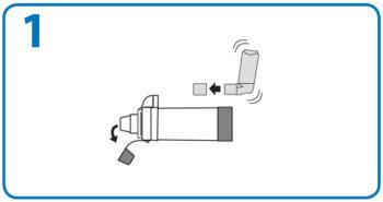 AeroChamber użycie z ustnikiem – 1. krok