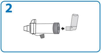AeroChamber użycie z ustnikiem – 2. krok