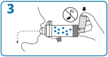 AeroChamber użycie z ustnikiem – 3. krok